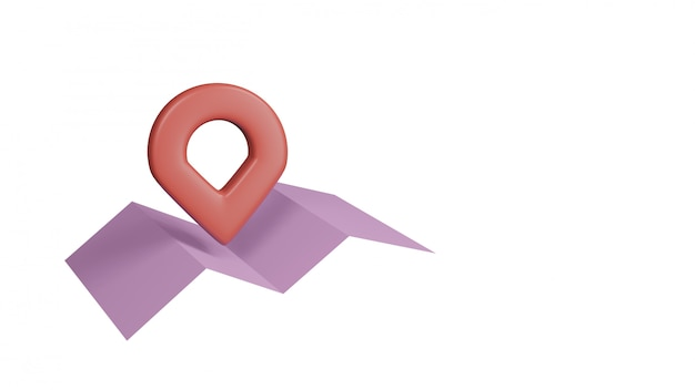 Pink paper map with red pointers, isolated on white background. 3d rendering