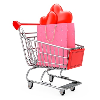 Pink paper shopping bag with red hearts in shopping cart on a white background. 3d rendering