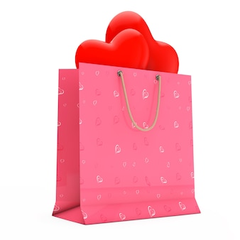 Pink paper shopping bag with red hearts on a white background. 3d rendering