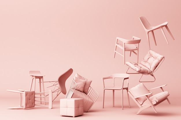 Pink pastel chairs in empty pink background concept of minimalism & installation art 3d rendering