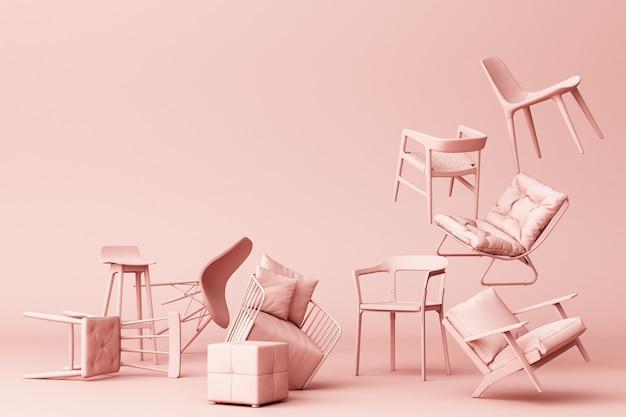 빈 분홍색 배경에 핑크 파스텔 의자입니다.