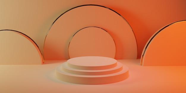 ピンクのパステルカラーの部屋に円筒形のピンクのパステル円筒形の金の表彰台
