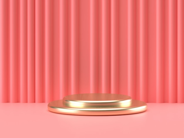 Pink pastel and gold product stand on background. abstract minimal geometry concept.3d rendering