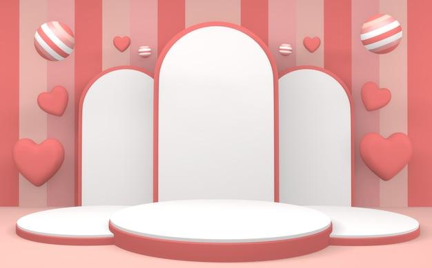 핑크 파스텔 제품 연단 최소한의 디자인. 3d 렌더링