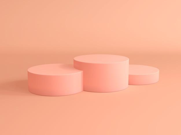 ピンクパステル製品スタンド。 3dレンダリング。ブランクの製品スタンド。