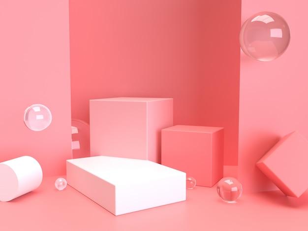ピンクのパステル製品が背景に立っています。抽象的な最小限のジオメトリのコンセプト.3 dレンダリング
