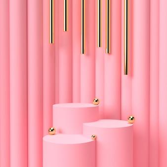 핑크 파스텔 제품 배경에 서있다. 추상 최소한의 형상 개념