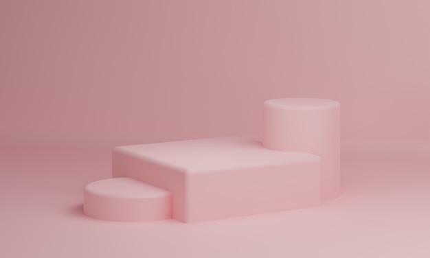 ピンクのパステル長方形の立方体とシリンダー製品の背景のテーブル