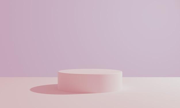 背景にピンクのパステルラウンドシリンダー製品ショーケーステーブル