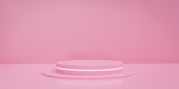 Pink pastel round stage or podium with fluorescent light. concept of product display platform. 3d rendering.