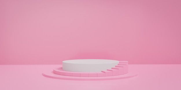 Pink pastel round stage or podium with stair. concept of product display platform. 3d rendering.
