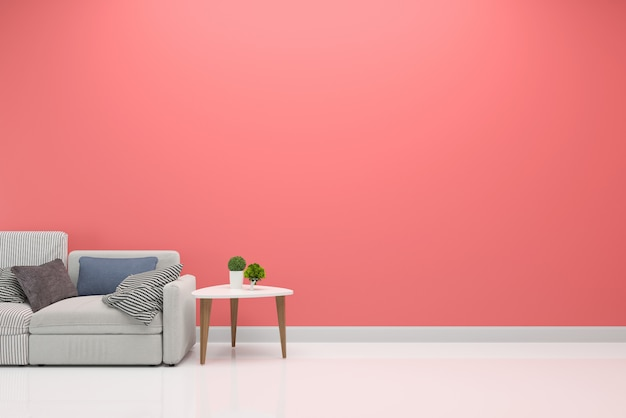 Pink pastel wall interior living room sofa background template