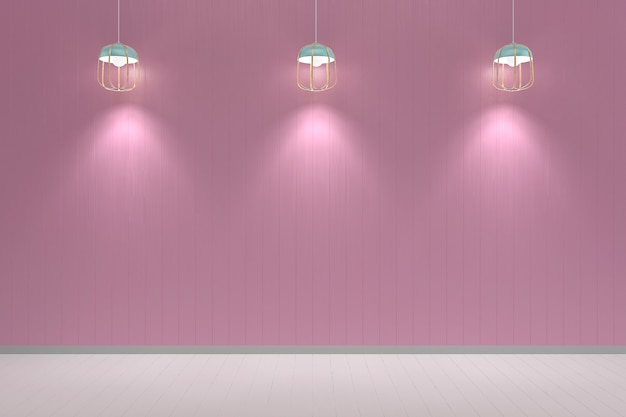 Pink pastel wall white wood floor background texture lamp mockup