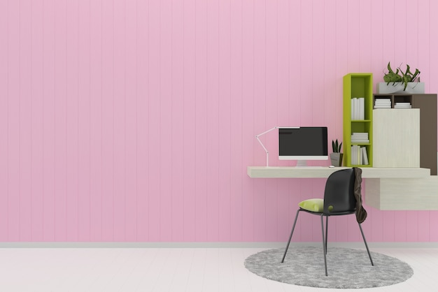 Pink pastel wall white wood floor background texture work space book rug computer