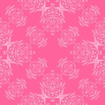 Розовый узор с дамасским цветком, ручная роспись