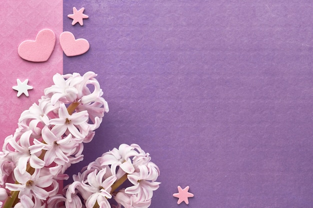 Pink pearl hyacinth flowers with decorative hearts on pink and purple colored paper, copy-space