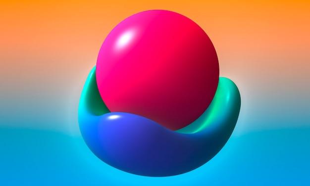 파란색 테이블, 복숭아 및 파란색 배경에 분홍색 진주 구체. 3d 렌더링.