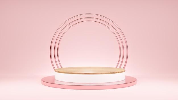 분홍색 받침대 원형 기하학적 목재 연단 제품 디스플레이 또는 쇼케이스 프레젠테이션