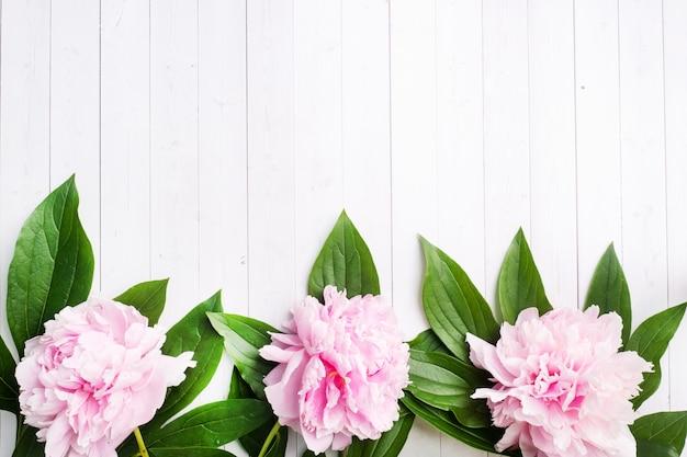 白い木製の背景の葉とピンクの牡丹