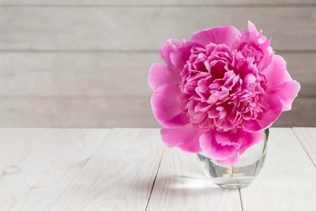 コピースペースとガラスのピンクの牡丹の花