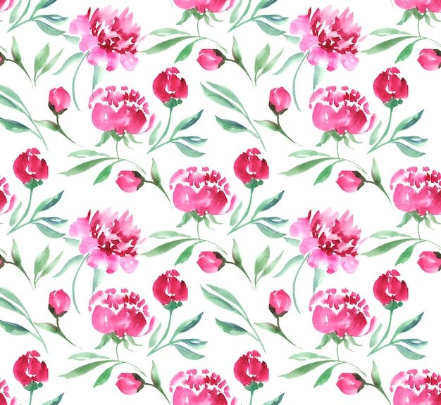 Pink peony flower watercolor illustration. seamless white background pattern.