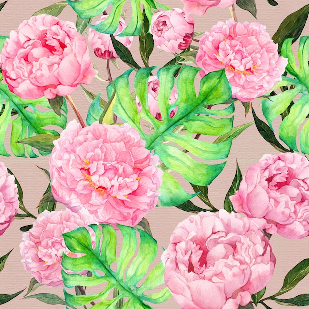 Pink peony flowers and tropical summer leaves.