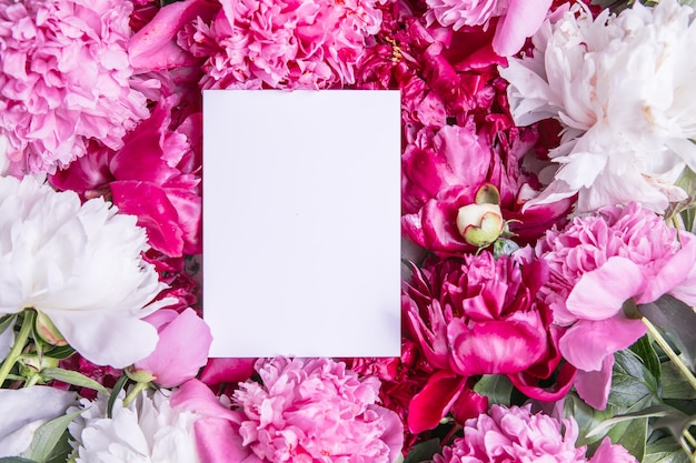 ピンクの牡丹モノクログリーティングカード紙モックアップサークル Premium写真