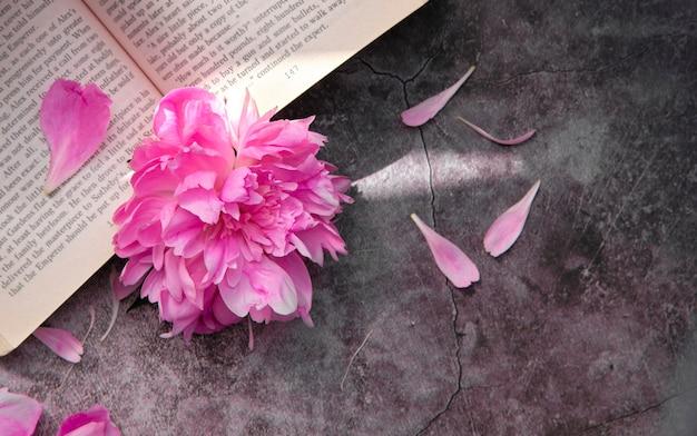 Розовый пион с лепестками на серой поверхности с открытой книгой