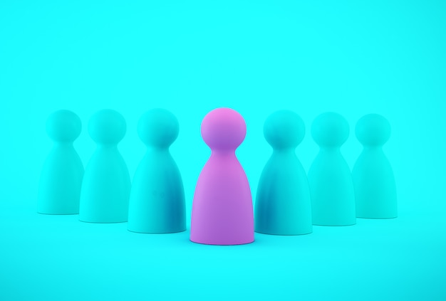 Pink people model outstanding out from the crowd. human resource, talent management, recruitment employee, successful business team leader .