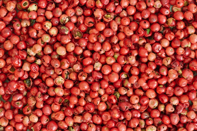 Pink peppercorn background, close up