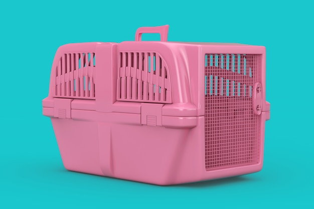 Pink pet travel plastic cage carrier box mock up duotone on a blue background. 3d rendering
