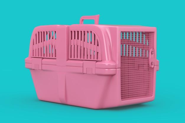 분홍색 애완 동물 여행 플라스틱 케이지 캐리어 상자는 파란색 배경에 이중톤을 조롱합니다. 3d 렌더링