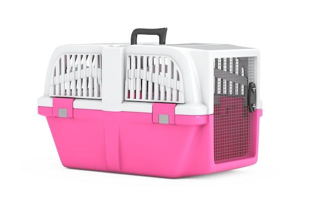 흰색 바탕에 핑크 애완 동물 여행 플라스틱 케이지 캐리어 상자. 3d 렌더링