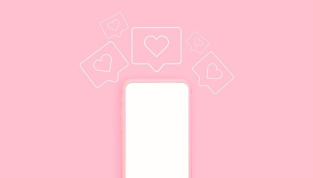 Розовый телефон 3d-рендеринг с иконками лайков