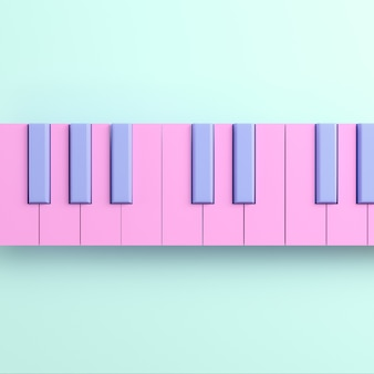 Pink piano keyboard on bright background