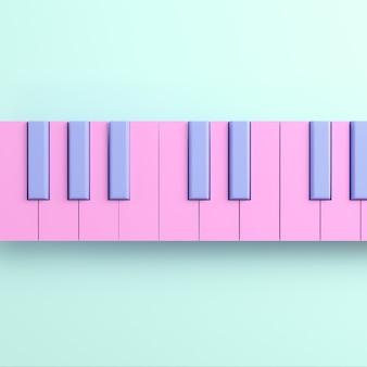 Розовая фортепианная клавиатура на ярком фоне