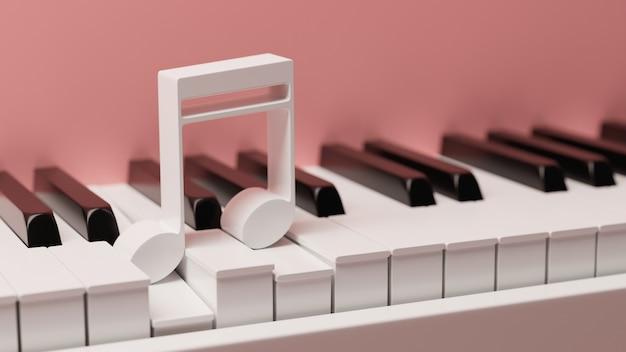 키보드가 닫혀 있는 분홍색 피아노와 상단 음악 악기 피아노에 있는 음악 노트가 3d illus를 닫습니다.