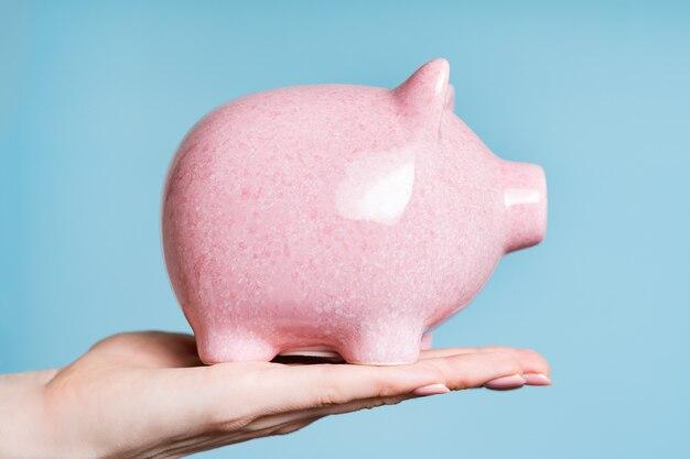Pink pig piggy bank on female palm on blue background