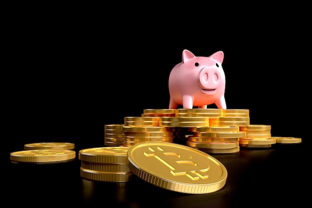 Btcの記号の付いたコインのスタックにピンクの豚-貯金箱