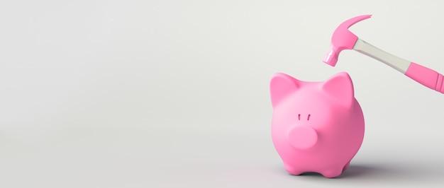 망치로 명중 하려고 하는 핑크 돼지 저금통. 3d 그림입니다.