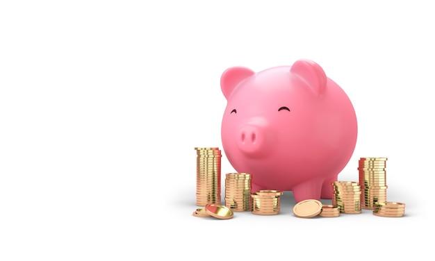 Розовая копилка и много золотых монет складываются на розовом