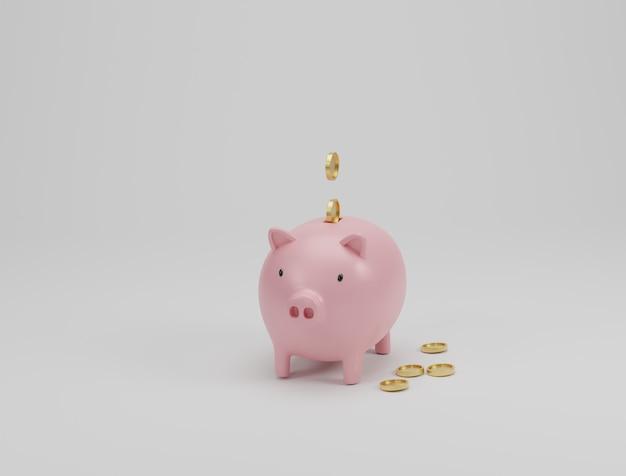 ピンクの貯金箱と白い背景の上の黄金のコイン。お金の節約の概念。 3dレンダリング。