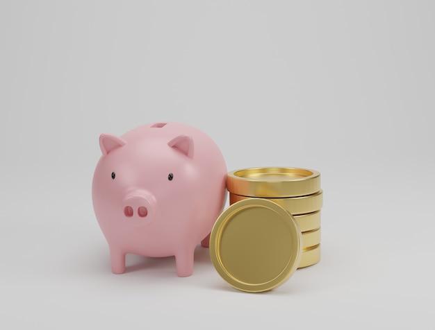 ピンクの貯金箱と金色のコインが白い背景に積み重なっています。お金と財務計画の概念を節約します。 3dレンダリング。