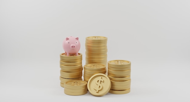 ピンクの貯金箱と金色のコインが白に積み重なっています