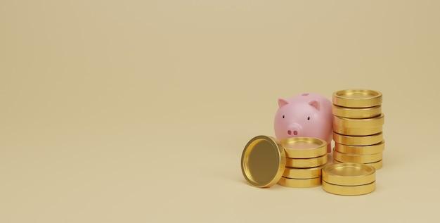 ピンクの貯金箱と金貨が積み重なっています。お金と財務計画の概念を節約します。 3dレンダリング。