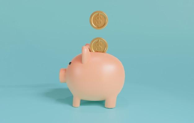 Розовая копилка и монеты доллара сша падают на синем фоне для концепции экономии денег и депозита, творческих идей с помощью техники 3d-рендеринга.