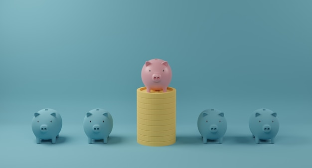 Pink piggy bank on coin stack standing out from crowd of identical blue fellows. concept of outstanding and different. 3d rendering.