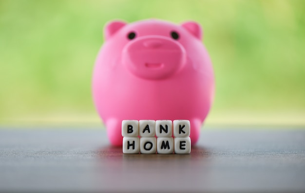 Pink piggy bank and dices words of bank home
