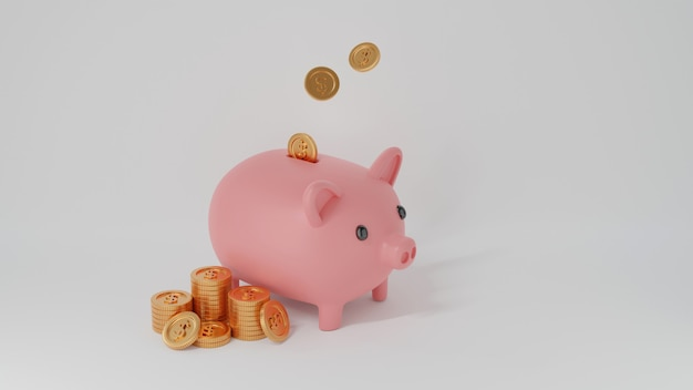 Pink piggy bank and golden coins falling in and coins stacks isolated on white, money-saving
