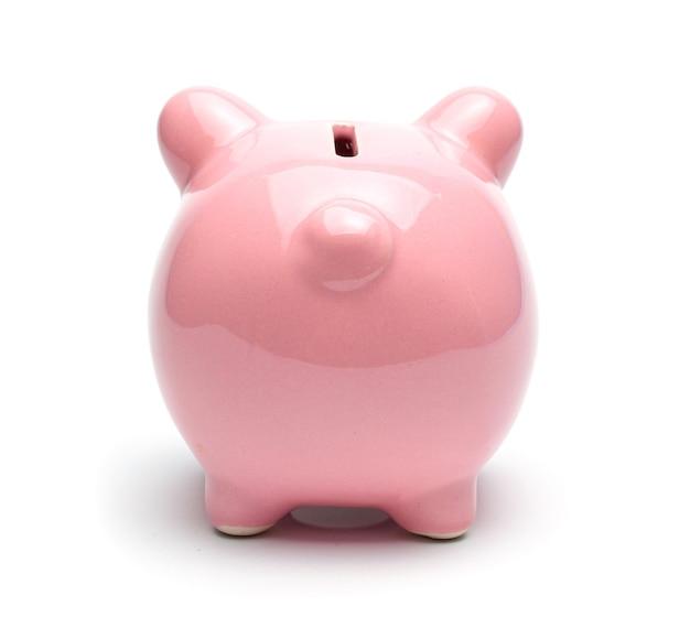 핑크 돼지 저금통 흰색 배경에 고립입니다.